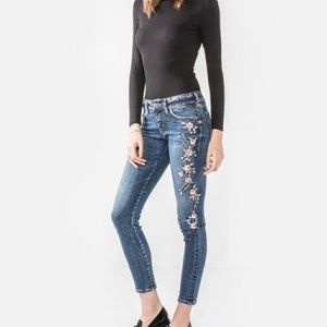 Silver Elyse skinny embroidered floral jeans 26/31